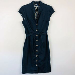 Dressbarn Blue Belted Button Front Denim Dress